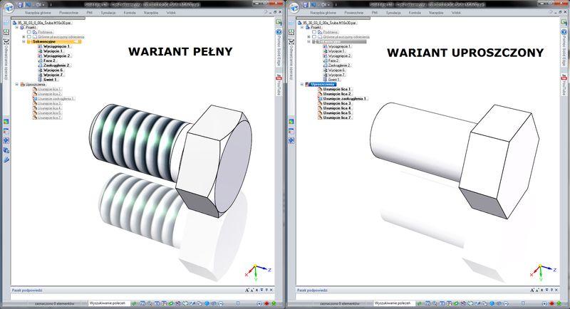 Uproszczenia części i złożeń