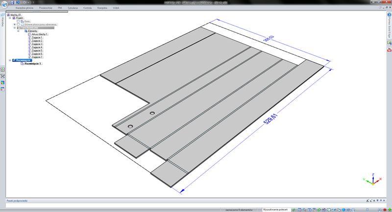 Model części blaszanej wczytanej z innego systemu CAD