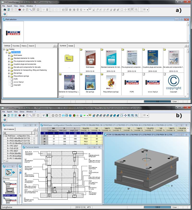 Okna biblioteki FCPK CADENAS: a) dostęp do wybranych podkatalogów, b) edycja wybranego korpusu formy wtryskowej