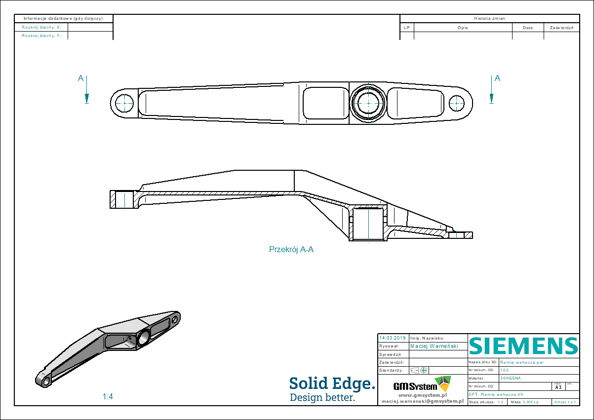 Rysunek techniczny - przekrój prosty dla pojedynczej części