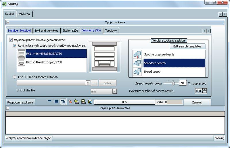 Zaawansowanie wyszukiwanie goemetryczne w oprogramowaniu PARTsolutions