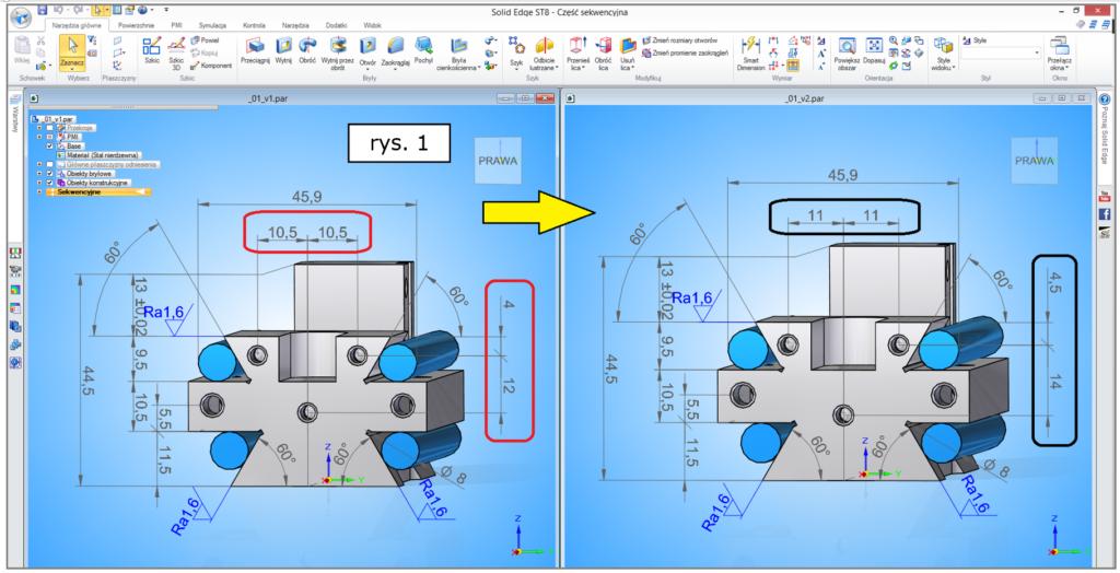 Modyfikacja modelu 3D i konieczność aktualizacji dokumentacji 2D w Solid Edge ST8