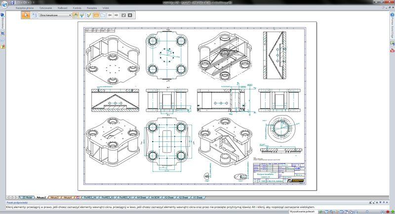 Tworzenie dokumentacji 2D - dokumentacja złożeniowa (zestawieniowa, spawalnicza, obróbkowa)