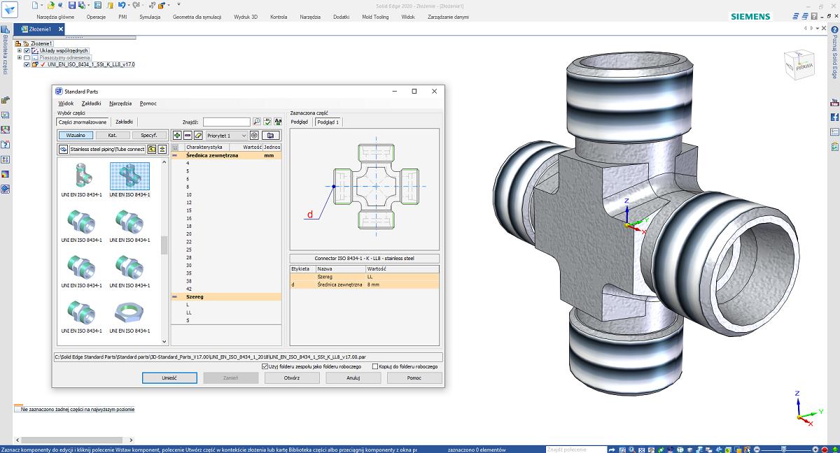 Zdefiniowanie i umieszczenie złącza hydraulicznego z biblioteki Standard Parts