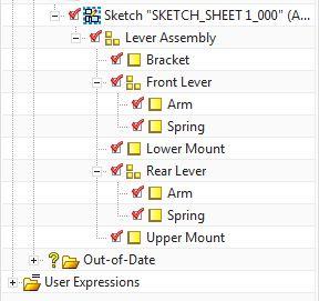 Struktura projektowanego złożenia NX