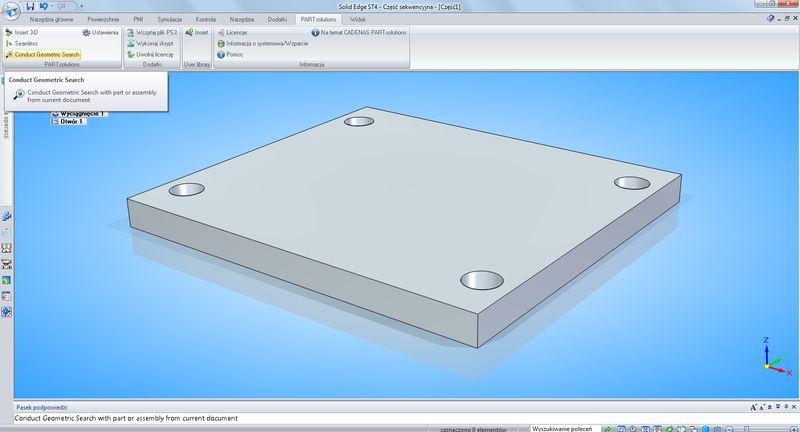 Wykorzystanie interfejsu PARTsolutions w programie CAD