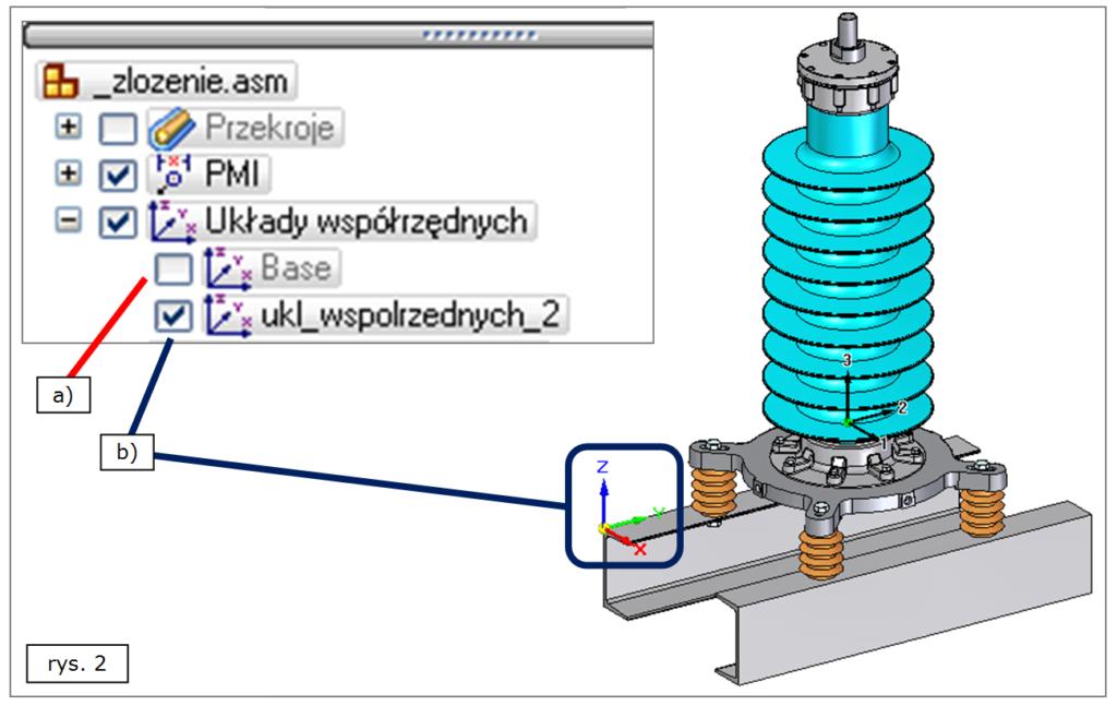 Układy współrzędnych w złożeniu 3D w SOLID EDGE ST7