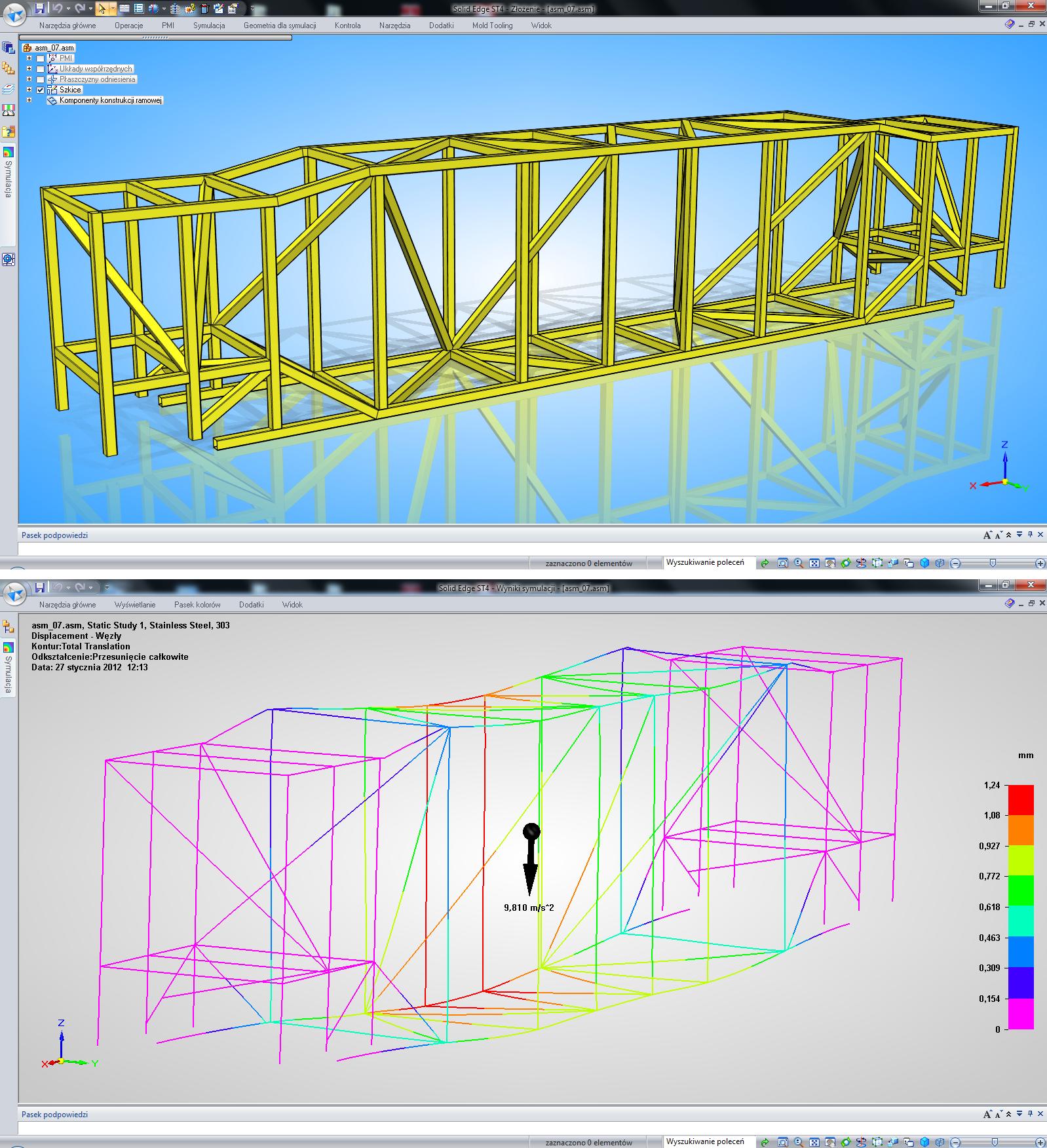 Najnowsza wersja SOLID EDGE ST4 dobrze się sprawdza w obliczeniach konstrukcji ramowych.