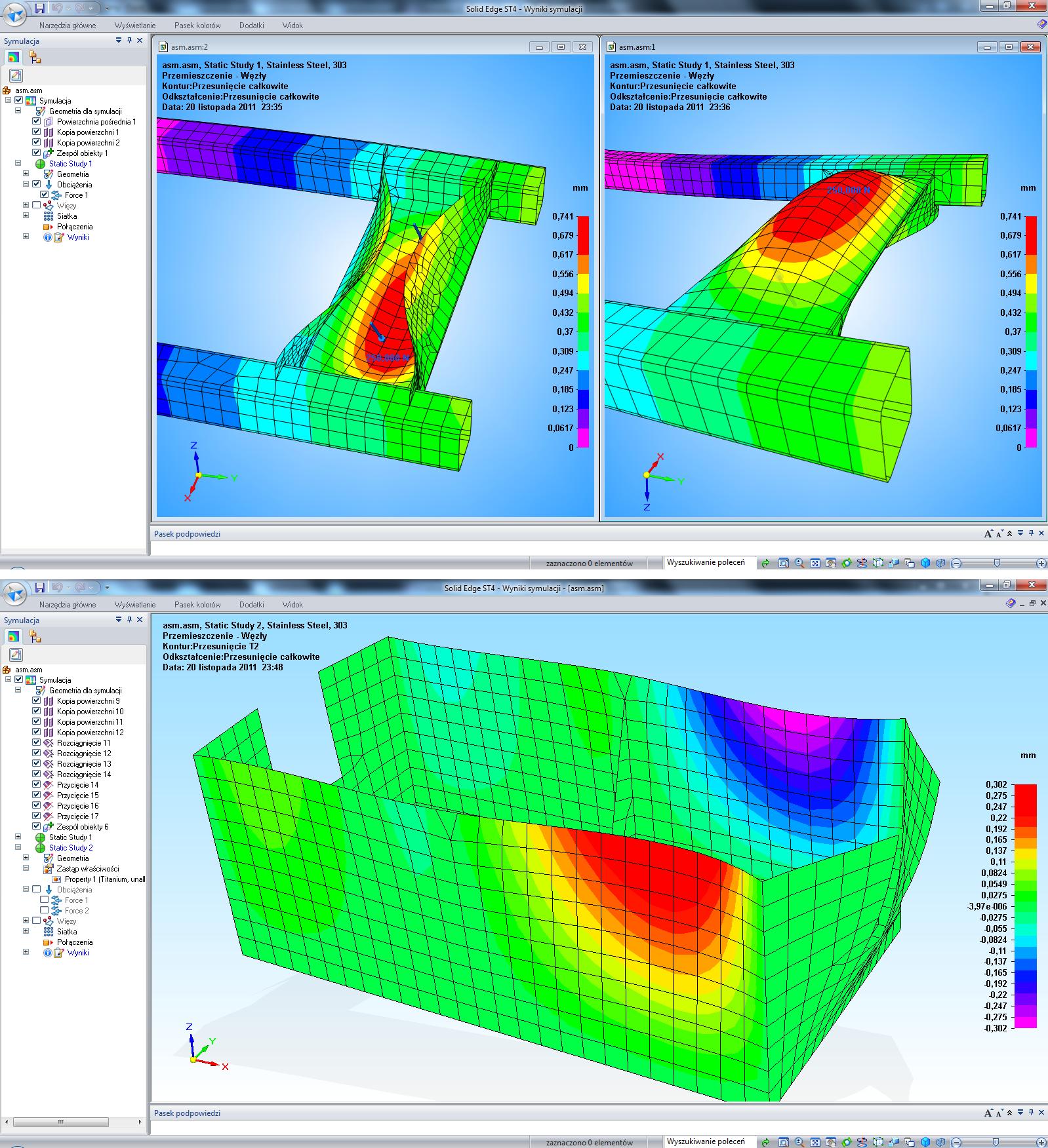 SOLID EDGE ST4 oferuje prowadzenie analiz dla różnorodnych siatek MES, umożliwiając jednocześnie łatwe sterowanie ich poszczególnymi parametrami, m.in. materiałowymi.