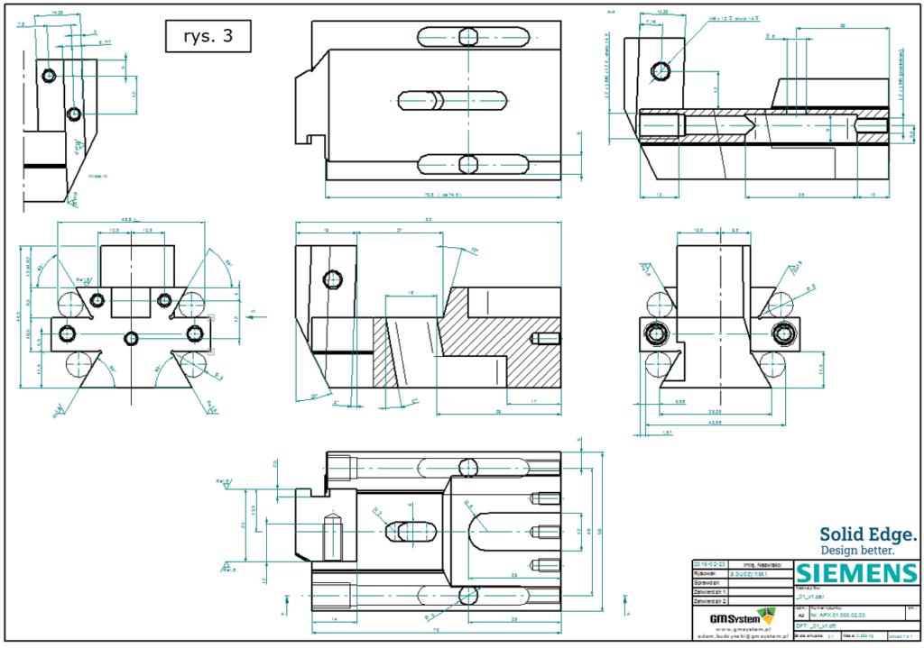 Część dokumentacji wykonawczej 2D modyfikowanego wyrobu w Solid Edge ST8