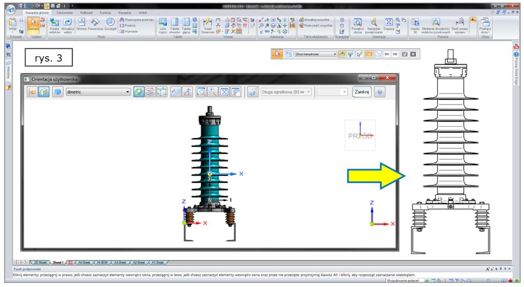 Tworzenie widoku rysunkowego 2D dla modelu 3D w SOLID EDGE ST7