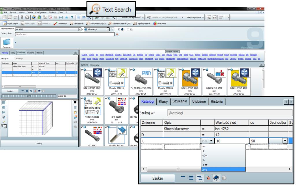Określanie wartości parametrów charakterystycznych podczas wyszukiwania w bibliotece PARTsolutions