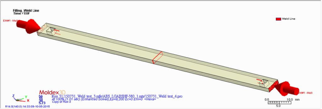 Rys. 3. Ulepszone w Moldex3D R14 przewidywanie położenia linii łączenia.