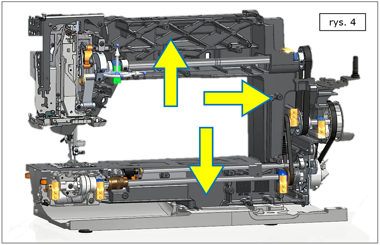 Solid Edge ST10 - widok 'wnętrza' modelu ze zwróceniem uwagi na korpus mechanizmów