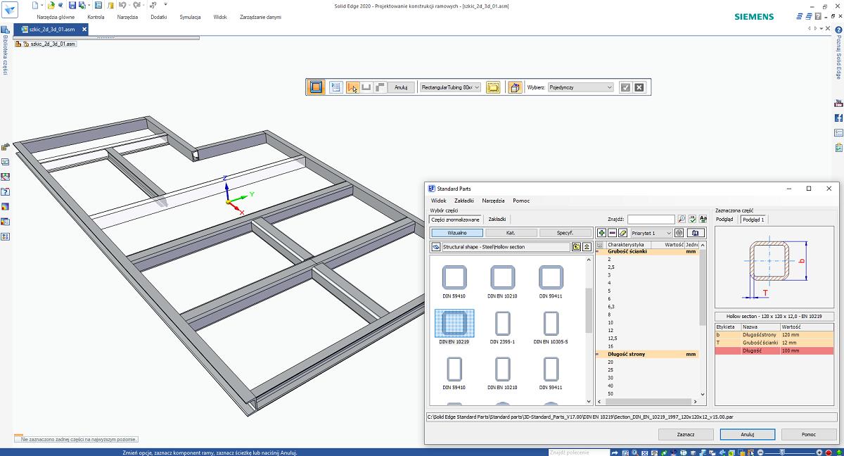 Wybór profilu z biblioteki Standard Parts w Projektowaniu konstrukcji ramowych