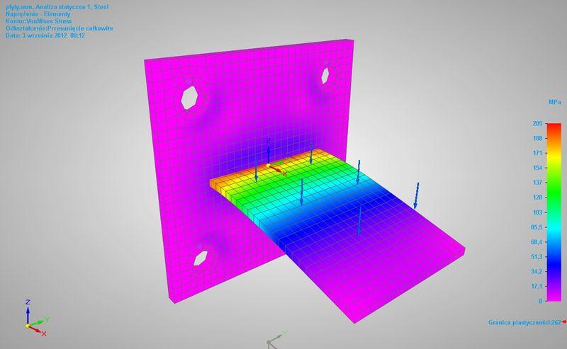 Wyniki dla modelu z nadanymi kontaktem w Solid Edge ST5 Simulation
