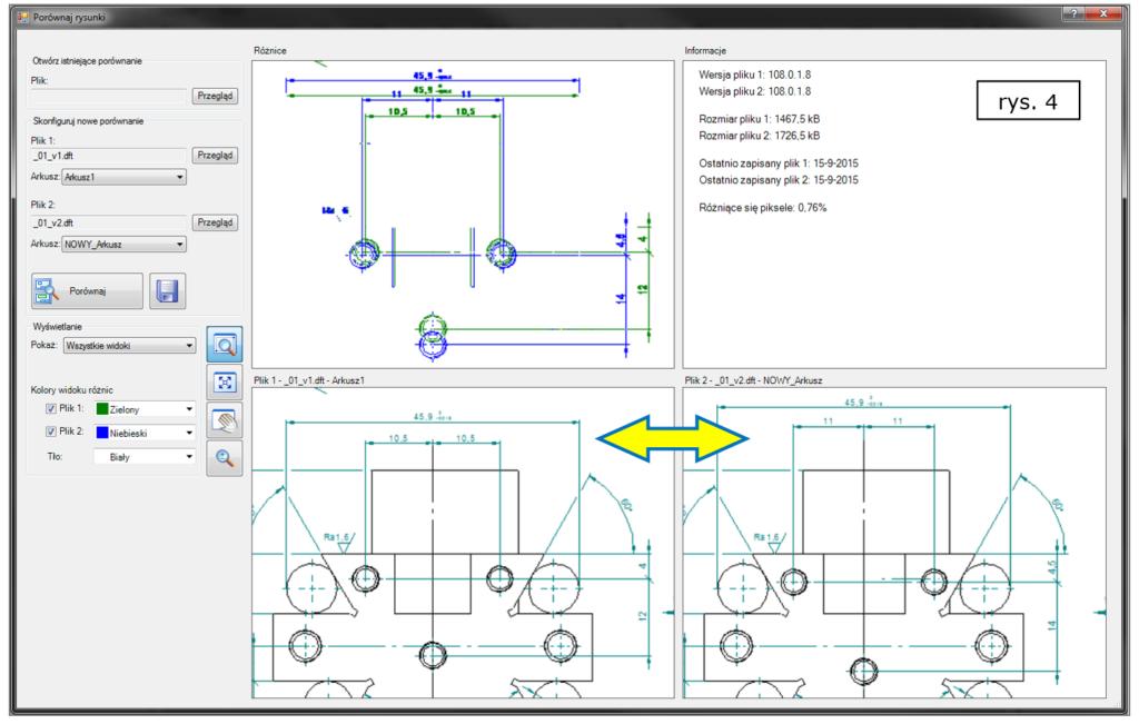 Porównywanie rysunków 2D ze wskazaniem różnic wymiarowych w Solid Edge ST8