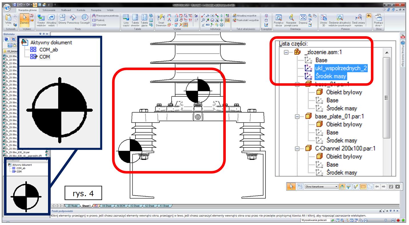 Widoczność środków mas i początków układów współrzędnych w 2D w ST7