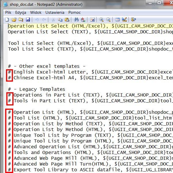 Edycja pliku shop_doc.dat. w CAM Express