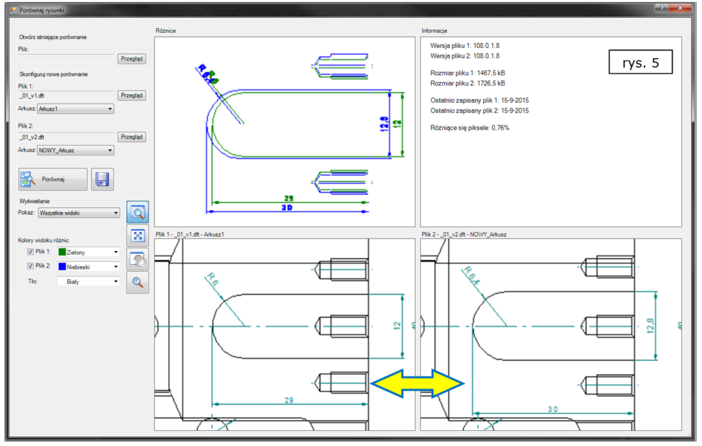 Rys. 5. Porównywanie rysunków 2D i zauważenie zmian dotąd nie wyróżnionych w 3D w Solid Edge ST8