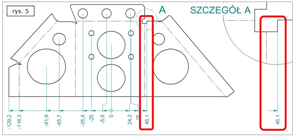 Wymiarowanie współrzędnościowe na różnych rysunkach SOLID EDGE ST7