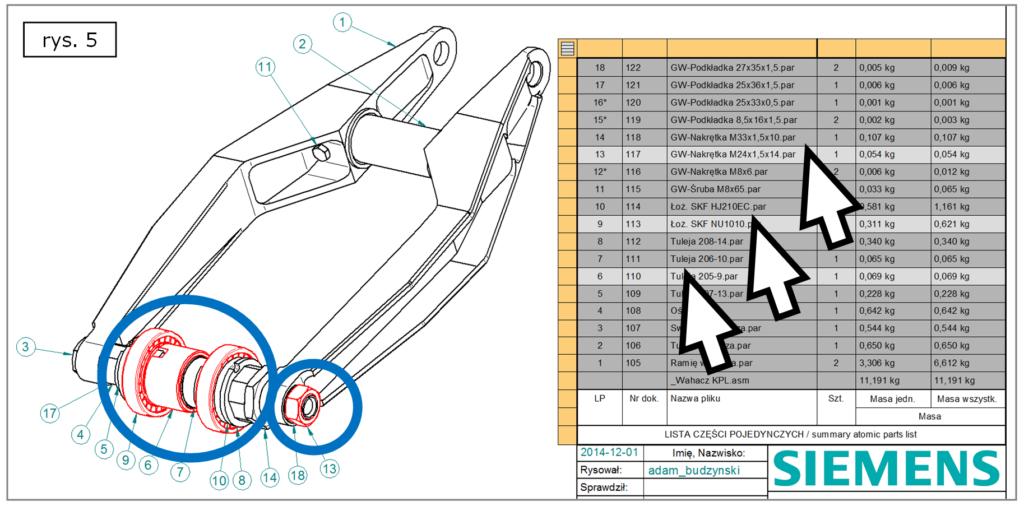 Wyróżnianie wielu komponentów projektu z BOM w Solid Edge ST7