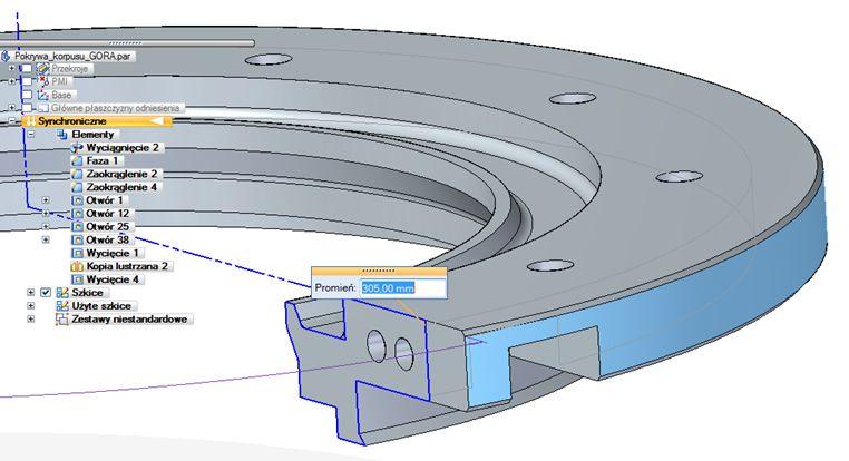 Model synchroniczny utworzony przez obrót profilu niezawierającego relacji; modyfikacja geometrii nie stanowi problemu (system analizuje bryłę B-rep, a nie profil 2D, który przestał sterować geometrią 3D)