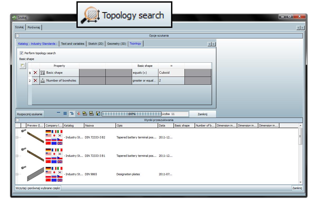 Wyszukiwanie topologiczne w bibliotece PARTsolutions.