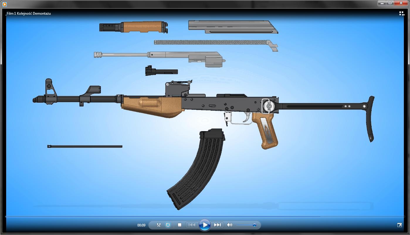 Proces montażu / demontażu broni palnej, zarejestrowany do postaci pliku filmowego .AVI, do odtworzenia z wykorzystaniem podstawowych rozwiązań IT.