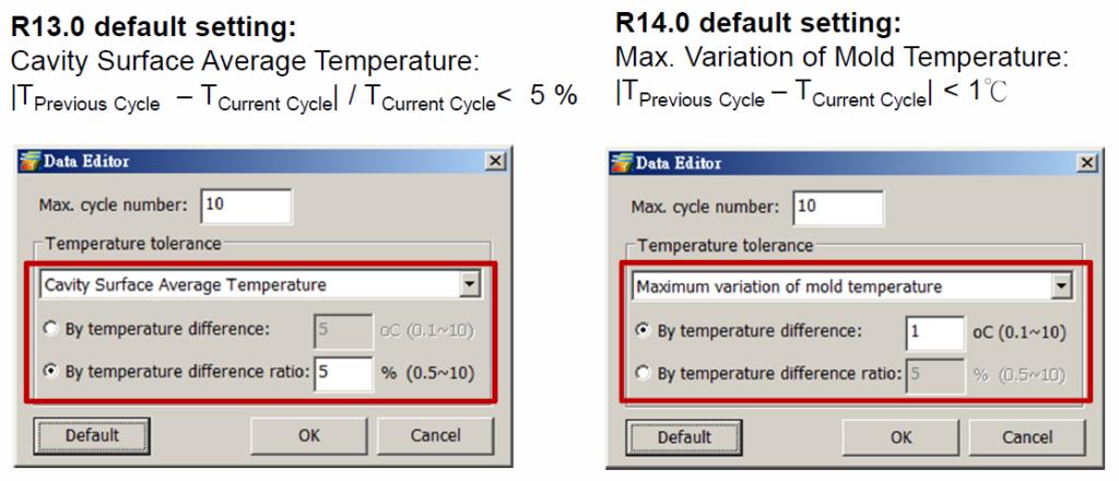 Rys. 5. Nowe nastawy domyślne dla analizy chłodzenia w Moldex3D R14.