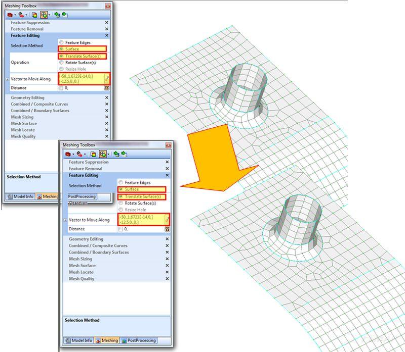 Modyfikacja operacji - przenoszenie powierzchni wraz z siatką za pomocą meshing toolbox