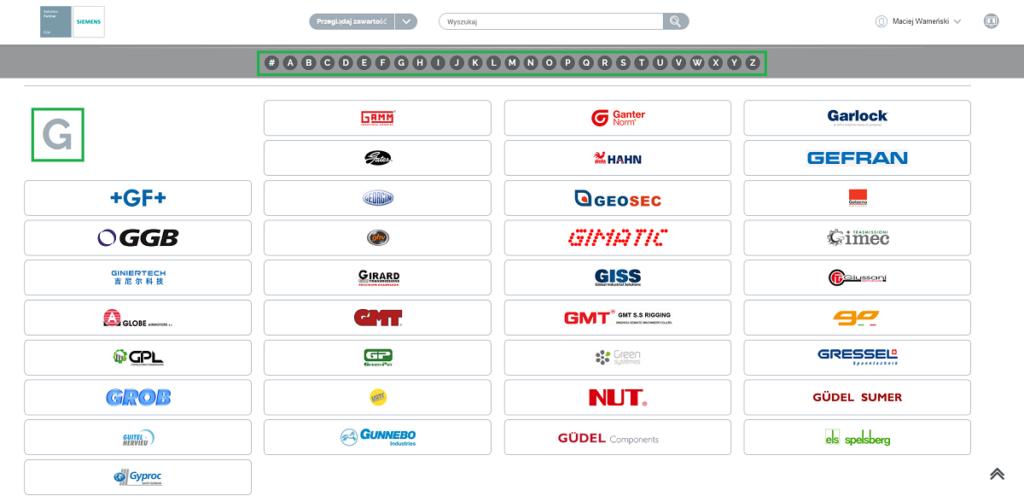 Alfabetyczna list dostawców w katalogu TraceParts dla Solid Edge