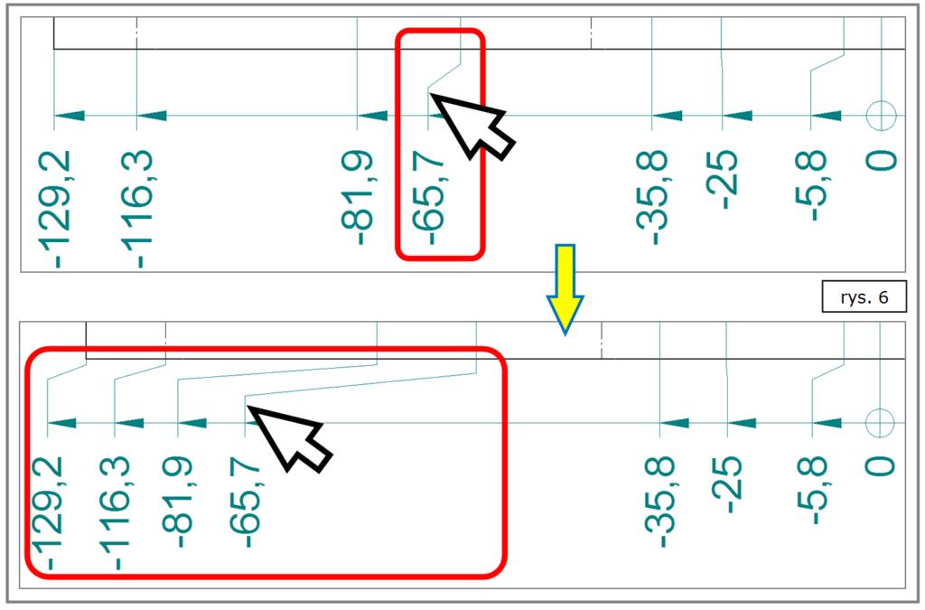 Automatyczne dodatkowe uskoki - wymiarowanie współrzędnościowe SOLID EDGE ST