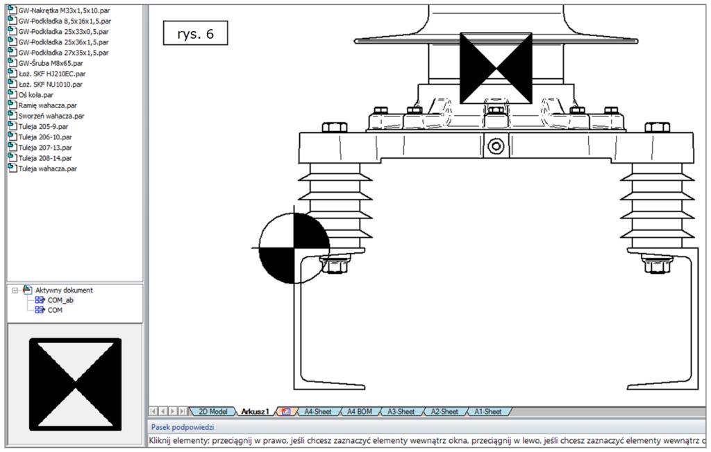 Jak czytelnie wyświetlać środki mas i początki układów współrzędnych w dokumentacji 2D SOLID EDGE ST7