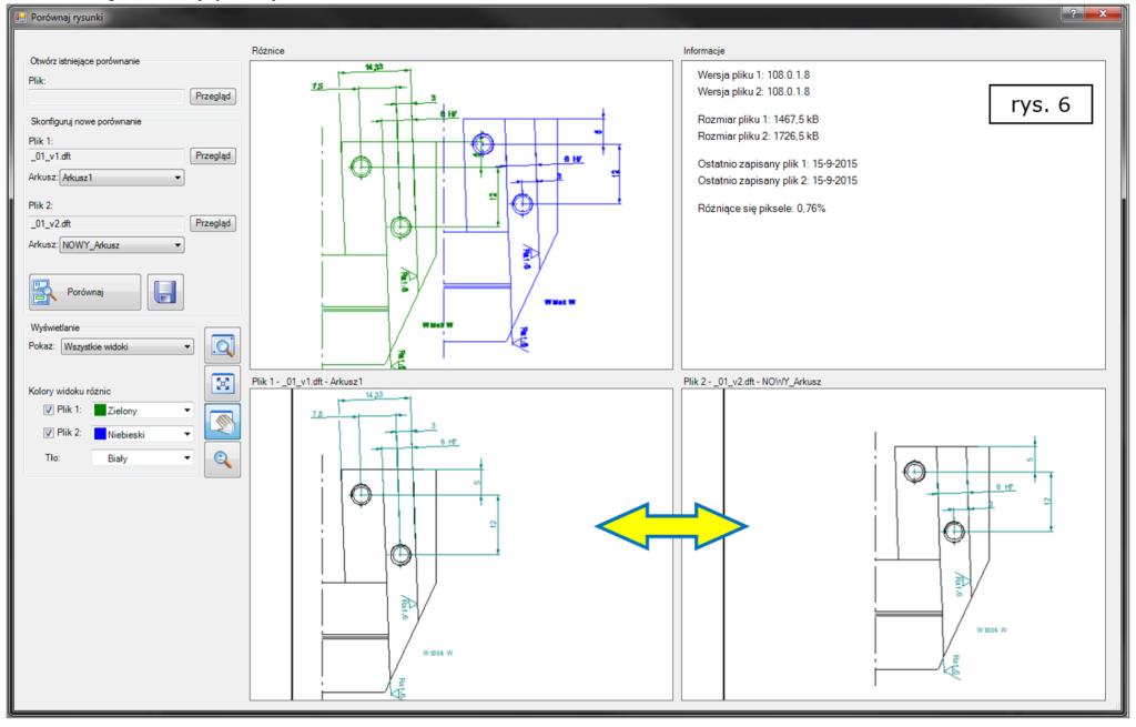 Porównywanie rysunków 2D różnice w lokalizacji i obecności widoków wymiarów i uwag w Solid Edge ST8