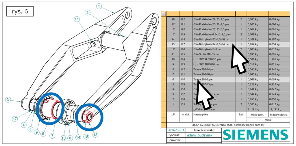 Selekcja deselekcja komponentów projektu z BOM w Solid Edge ST7