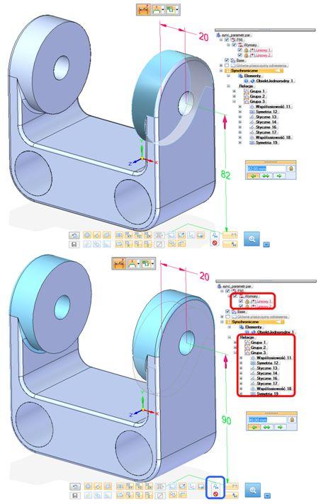 Parametryczny model importowany – wprowadzone relacje lic 3D i wymiary zablokowane 3D; w wyniku wymiaru 82 mm zależności geometryczne oraz wymiary są utrzymywane (zaznaczone na czerwono)