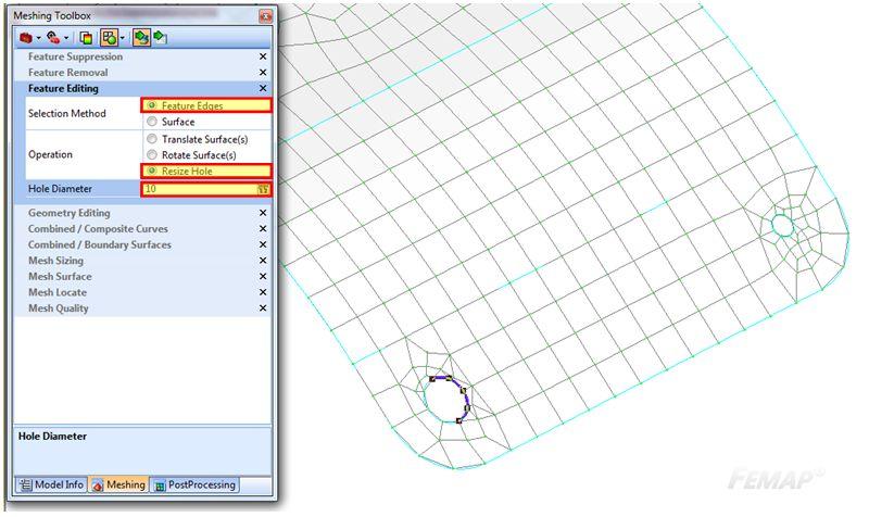 Zmiana wielkości otworów na powierzchni wraz z siatką za pomocą Meshing Toolbox