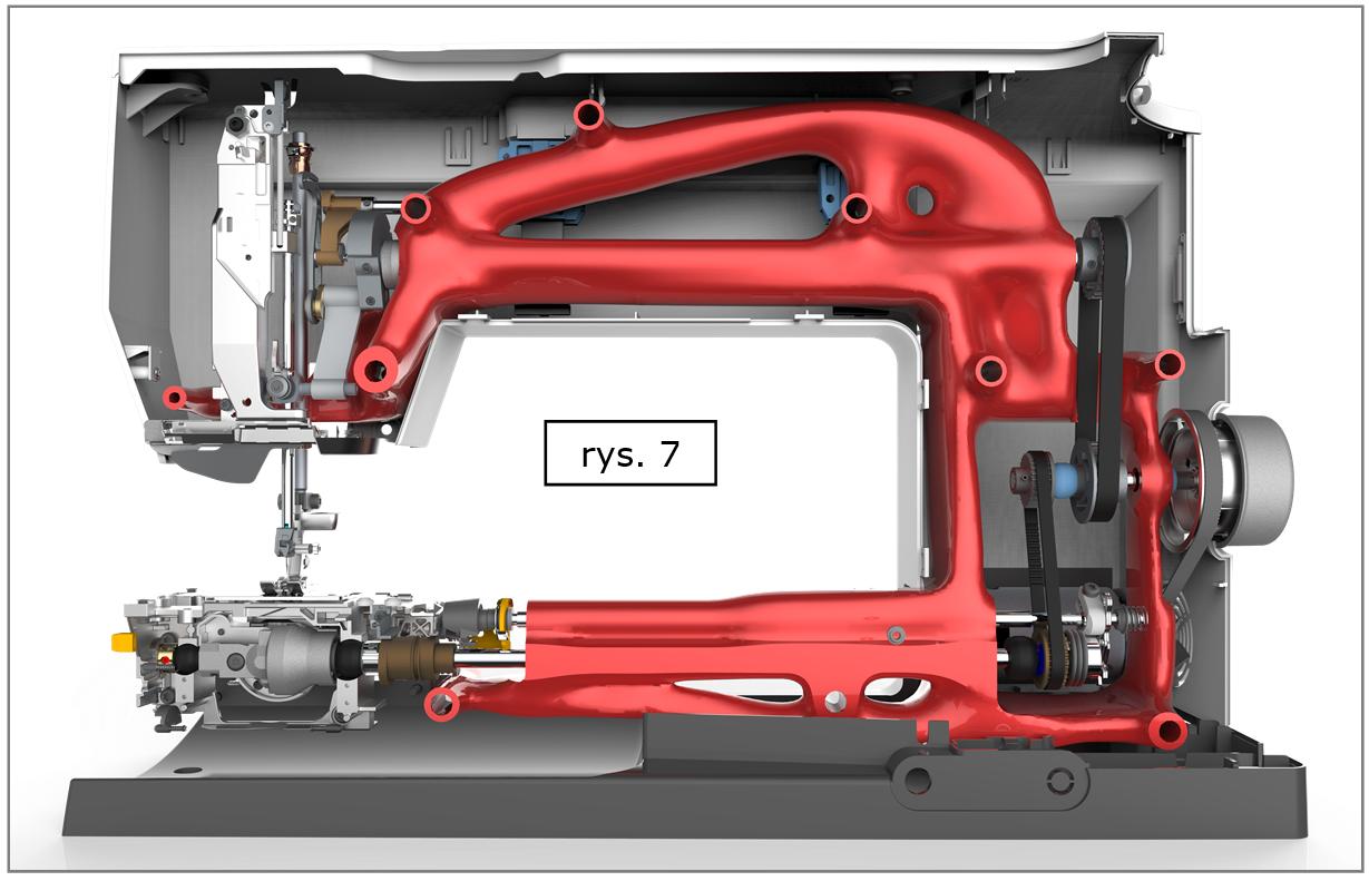 Solid Edge ST10 - zoptymalizowana geometria korpusu 'zamontowana' w kompletnym projekcie 3D urządzenia.