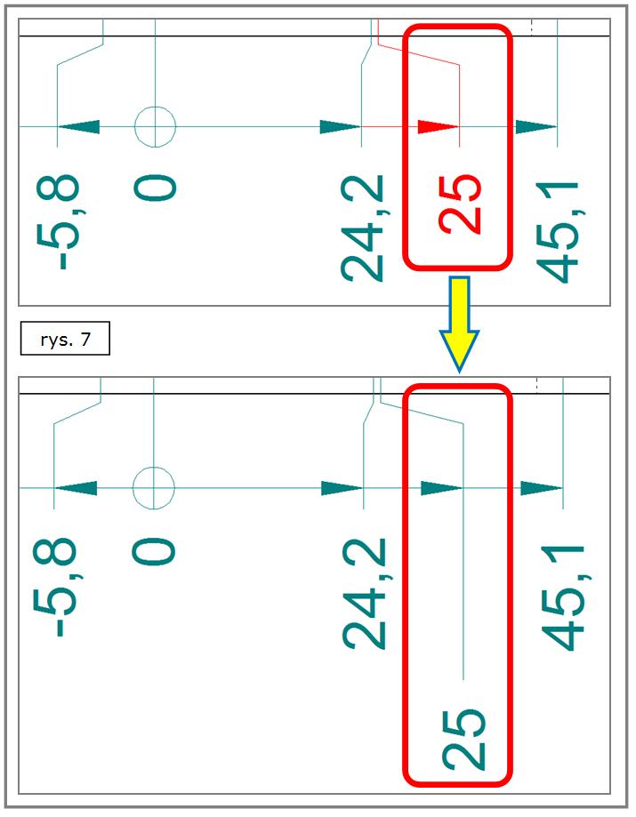 Odsunięcie wartości wymiaru - wymiarowanie współrzędnościowe SOLID EDGE ST7