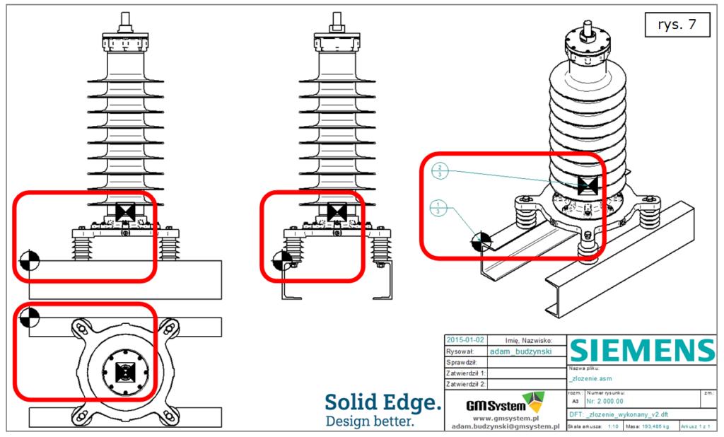 Wyświetlanie środków mas oraz początków układów współrzędnych na wielu rysunkach 2D w ST7