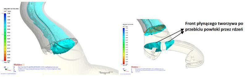 Wizualizacja rozpływu materiału rdzenia w procesie Co-Injection (można zaobserwować przebicie warstwy materiału zewnętrznego)