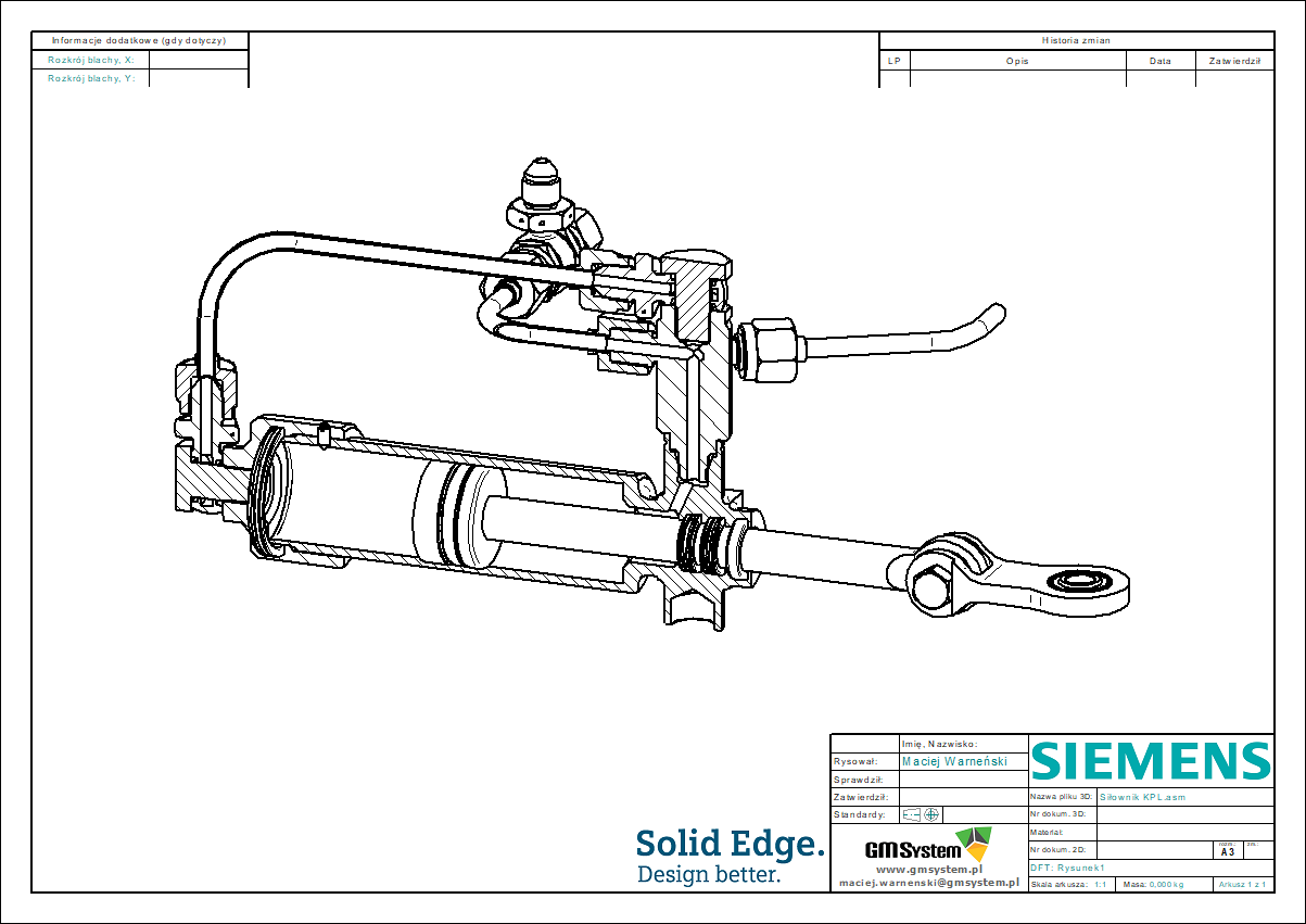 rysunek techniczny - przekrój PMI wykorzystany w dokumentacji 2D