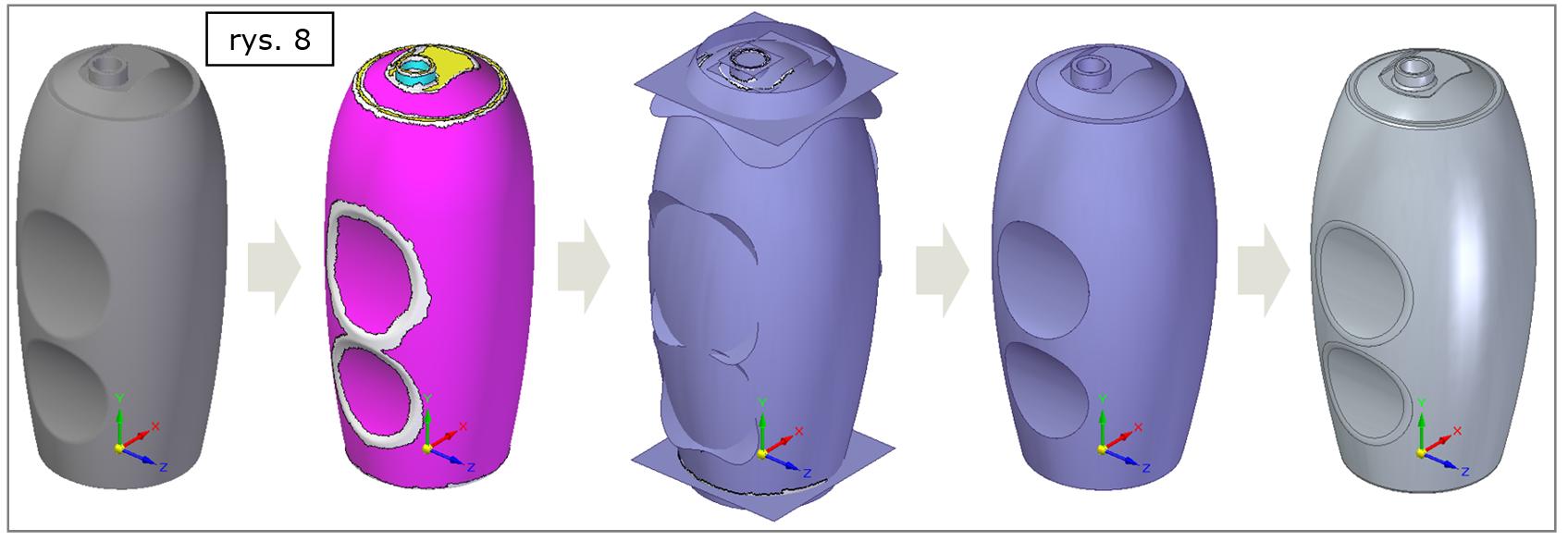 Modelowanie powierzchniowo bryłowe w Solid Edge ST10 - proces na przykładzie zmiany 'chmury punktów' po skanowaniu geometrii opakowania, do postaci analitycznego modelu bryłowego