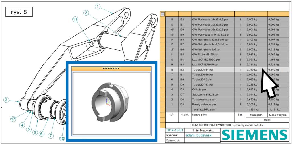 Jak funkcjonuje wizualna prezentacja komponentu projektu z poziomu listy części BOM w Solid Edge ST7