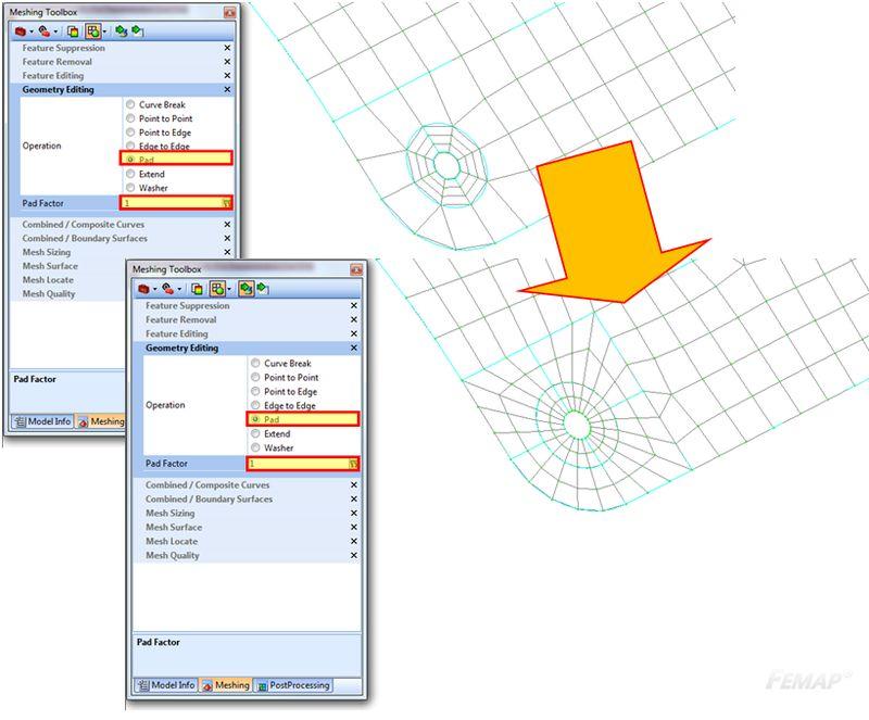 Tworzenie podziału powierzchni wokół otworów za pomocą Meshing Toolbox