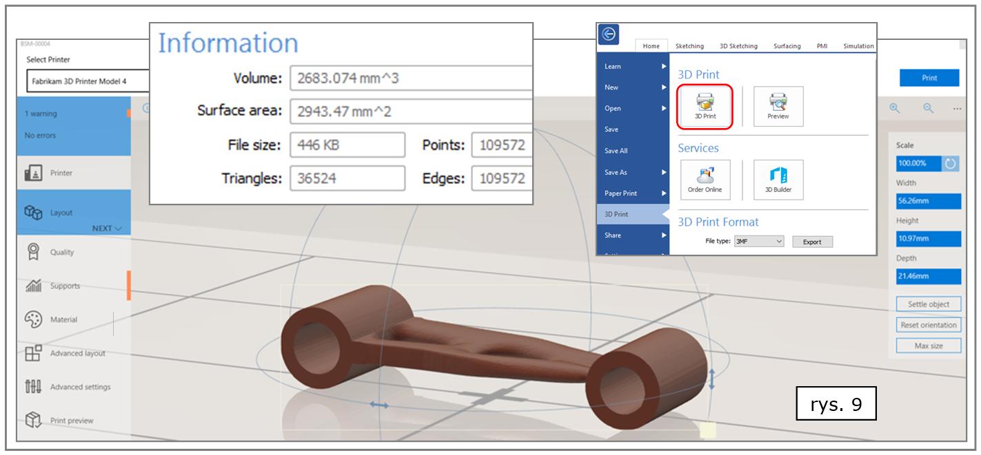 Solid Edge ST10 - rozbudowane informacje nt. geometrii 'drukowanego' obiektu