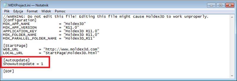 Automatyczna aktualizacja Moldex3D R11