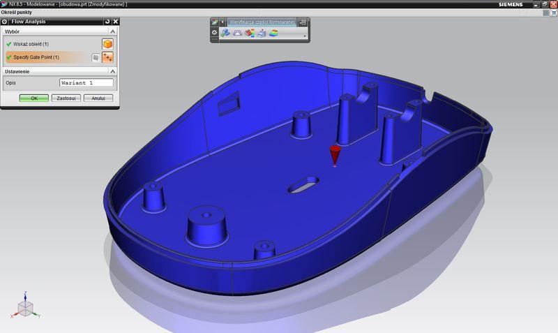 Symulacja wtrysku w NX - zdefiniowanie położenia punktu wtrysku