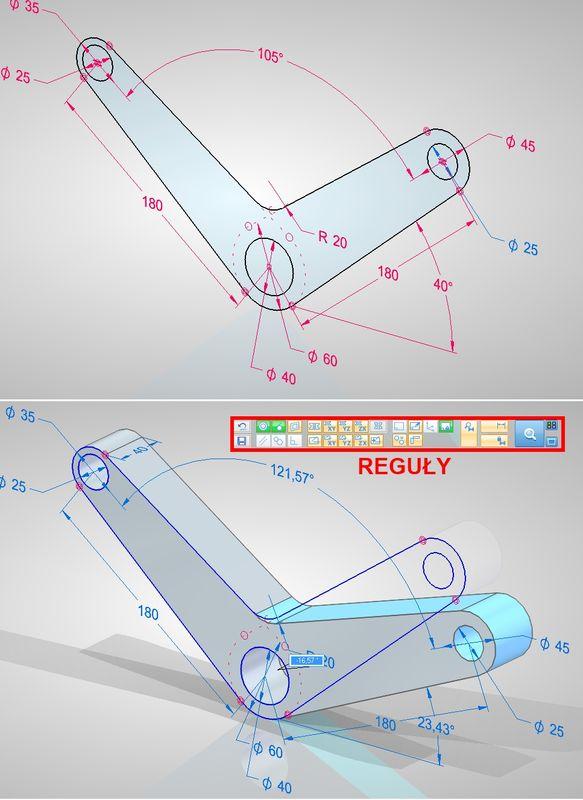 Model synchroniczny utworzony przez przeciągnięcie w pełni sparametryzowanego profilu– mimo braku trwałych relacji geometrycznych, odblokowania wszystkich wymiarów i utraty powiązania ze szkicem, model wtrakcie edycji zachowuje się inteligentnie (zachowanie współosiowości otworów i styczności lic).